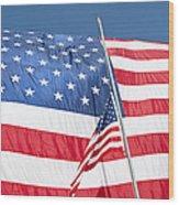 The American Flag Hangs Wood Print