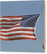 The American Flag Waves At Half-mast Wood Print