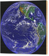 The Americas And Hurricane Andrew Wood Print by Stocktrek Images