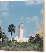 The Apollo 16 Space Vehicle Is Launched Wood Print