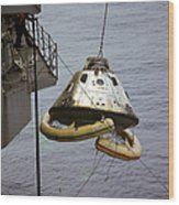 The Apollo 9 Command Module Is Hoisted Wood Print