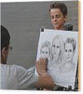 The Artist At Bethesda Fountain Wood Print