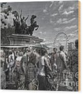 The Attack Of The Zombie Tourists Wood Print