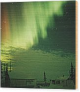 The Aurora Borealis Shimmers Wood Print