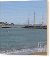 The Balclutha . A 1886 Square Rigged Cargo Ship At The Hyde Street Pier Overlooking Alcatraz.7d14068 Wood Print