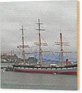 The Balclutha Ship And Alcatraz Island Wood Print