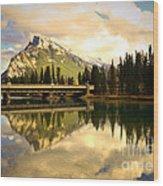 The Banff Bridge Reflected Wood Print