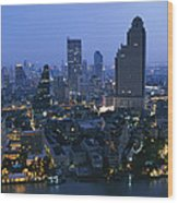 The Bangkok Skyline At Dusk Wood Print