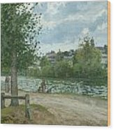 The Banks Of The Oise At Pontoise Wood Print