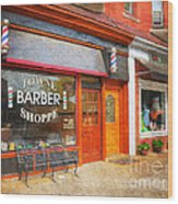 The Barber Shop Wood Print
