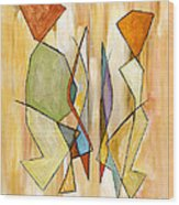 Modern Art Beige Orange Green Abstract Color Blocks Barcelonian Couple Wood Print