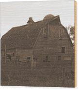 The Barn 3 B/w Wood Print