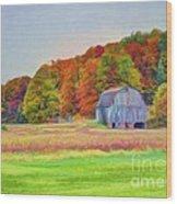 The Barn In Autumn Wood Print by Michael Garyet