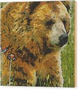 The Bear Painterly Wood Print