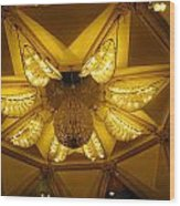 The Beautifully Lit Chandelier On The Ceiling Of The Iskcon Temple In Delhi Wood Print