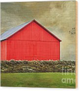 The Big Red Barn Wood Print by Darren Fisher