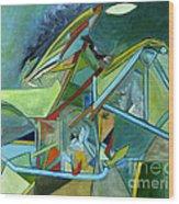 Cool Abstract Biker Print For Men Art Decor Gifts Wood Print by Marie Christine Belkadi