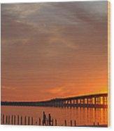 The Biloxi Bay Bridge At Sunset Wood Print