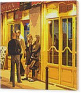 The Bistro At Night Wood Print