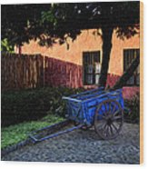 The Blue Cart Wood Print