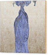 The Blue Dress Wood Print