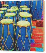 The Blue Drums Wood Print