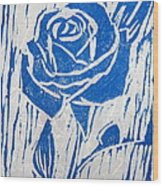The Blue Rose Wood Print by Marita McVeigh