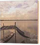 The Blue Sky And A Boat Wood Print