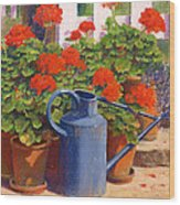 The Blue Watering Can Wood Print by Anthony Rule