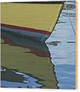 The Bow Of An Anchored, Striped Boat Wood Print