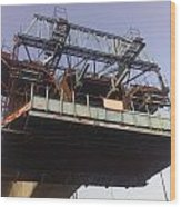 The Bridge Building Platform Being Used In The Construction Of The Delhi Metro Wood Print