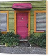 The Brightly Colored Door Illustrated Wood Print