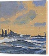 The British Cruisers Hms Exeter And Hms York  Wood Print