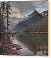 The Calm At Lake Louise Wood Print