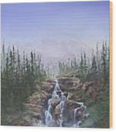 The Canoeist Concern Wood Print by Kent Nicklin