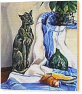 The Cat And The Cloth Wood Print