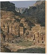 The Caves And Tombs Of Petra, Shown Wood Print