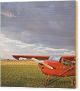 The Cessna Makes A Pit Stop To Refuel Wood Print