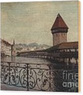 The Chapel Bridge In Lucerne Switzerland Wood Print