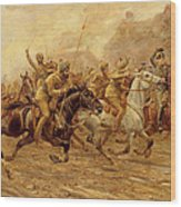 The Charge Of The Bengal Lancers At Neuve Chapelle Wood Print