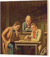 The Checker Players Wood Print by George Caleb Bingham