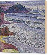 The Choppy Sea Wood Print by Henri-Edmond Cross