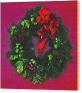 The Christmas Wreath Wood Print