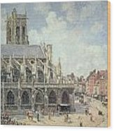 The Church Of Saint Jacques In Dieppe Wood Print by Camille Pissarro