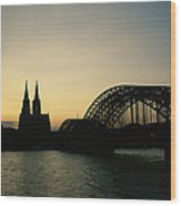 The Cologne Cathedral And Hohenzollern Wood Print