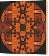 The Color Orange Mandala Abstract Wood Print