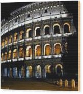 The Colosseum At Night Wood Print