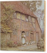 The Cottage With Beehives Wood Print