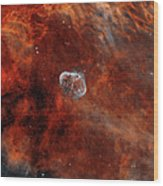 The Crescent Nebula With Soap-bubble Wood Print