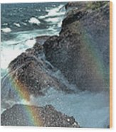 The Devils Washtub With Double Rainbow Wood Print